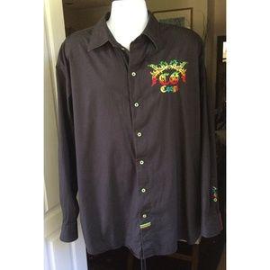 Coogi Men's Long Sleeve Shirt Black XXXL